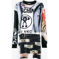 Moschino Trompe L'oeil T-shirt dress ($445) ❤ liked on Polyvore featuring dresses, cotton print dress, moschino dress, cotton tee shirt dress, tee shirt dress and long sleeve cotton dress