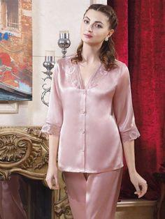 pink silk pajamas