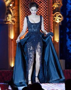 Sonam Kapoor looked gorgeous as ever in a dark blue risque dress at the Stardust Awards 2014. #Bollywood #Fashion #Style #Beauty