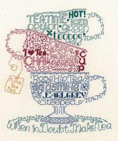 Let's Do Tea cross stitch pattern - adorable!