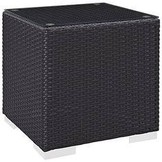 Convene Outdoor Patio Side Table in Espresso - East End Imports stages of sensitivity with the Convene outdoor sectional series. Made with a synthetic rattan weave and a powder-coated aluminum frame, Convene is a versatile outdoor colle Patio Side Table, Square Side Table, Side Tables, Patio Loveseat, Outdoor Sectional, Coffee Table Dimensions, Star Wars, Cushion Fabric, Sofa Set