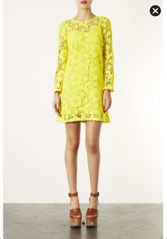 Bright Yellow Lace Shift Dress. £75. Top Shoo