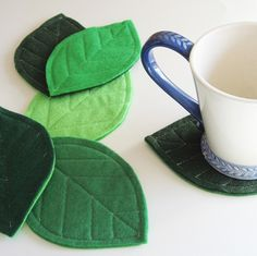 Green Leaves felt coasters