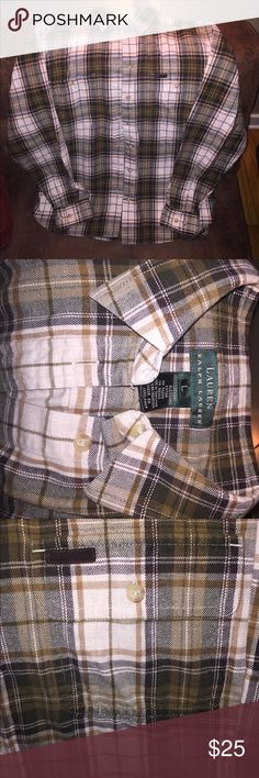 Lauren by Ralph Lauren Women's Flannel Shirt Super comfy and versatile flannel that is perfect for all seasons. Layer it, wear it by itself, or tie it around your waist! However you decide to wear it, you are sure to impress! Lauren Ralph Lauren Tops Button Down Shirts
