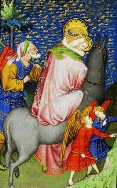 It's About Time: Illuminated Manuscripts - The Flight into Egypt Medieval Manuscript, Illuminated Manuscript, Religious Icons, Religious Art, Mama Mary, Biblical Art, Bnf, Holy Family, Mother Mary