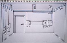 Esquema de como seconectan los cables en un enchufe y un interruptor o conmutador que van juntos. hacer puente Electrical Wiring, Crates, Floor Plans, House Design, Technology, Cable, Architecture, Image, Electrical Plan