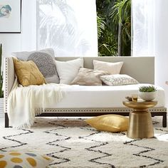Nailhead Trim Daybed - Flax (Brushed Heathered Cotton) #westelm, $879 on sale