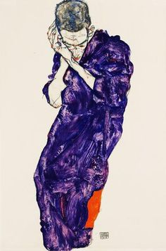 Egon Schiele - Youth in purple cassock with folded hands
