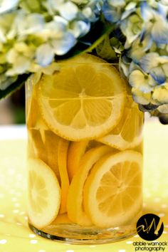 wedding day - details - ideas - flowers - floral - arrangement - arrangements - centerpiece - centerpiece - citrus - lemon slices - lemons - blue - hydrangea - hydrangeas - flowers - photography by Abbie Warnock