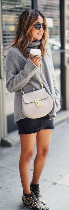 Sincerely Jules Black Studded Booties Black Cut Off Skirt Gray Oversized Turtleneck Casual Days Fall Inspo