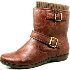 Qupid Proceed-24 Rust Fashion Buckles Ankle Boots: Shoes
