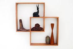 2 Shadow Box to display your treasures.Wall hanging shelf wood round art retro modern vintage handmade solid wood shelves display cabinet