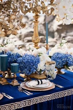 Blue and white table setting. WedLuxe – Odyssey of Love | Photography by: Jasalyn Thorne Photographers