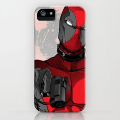Deadpool iPhone Case by Art By Joi - $35.00  This looks like an iPhone 5 cover. Hope they have it for iPhone 4 too!