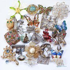 Vintage Jewelry Lot Multi Color Rhinestone Figural Pins #JewelryLot