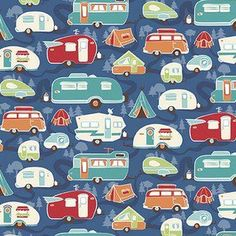 Kelly Panacci - Road Trip - Road Trailer in Blue Road Trip Theme, Fabric Patterns, Sewing Patterns, Remodeled Campers, Drawing Challenge, Riley Blake, Travel Themes, Happy Campers, Accessories