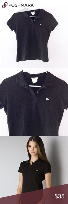 NWOT Lacoste black polo Never worn! Classic black Lacoste polo with three buttons and the iconic green alligator logo. Perfect for brunch, work, dressing up, or dressing down! Designed in France. Size 40, would best fit a small or medium depending on fit preference. Open to offers :) Lacoste Tops