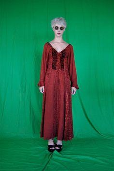 vintage 1990's bohemian renaissance embroidered ethnic maxi dress, sm/med