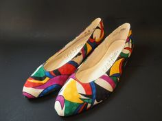 Vintage silk flats orgami abstract design never worn - crayola colors pucci c1960 shoes