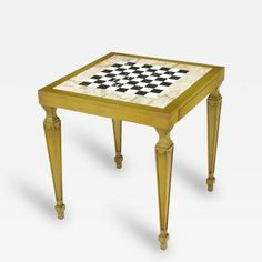 Bleached Walnut and Inlaid Marble Regency Game Table