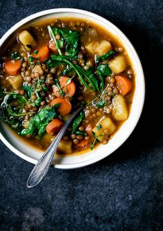 This budget friendly, healthy vegan lentil and potato stew is full of comfort food goodness and seasonal ingredients, like carrots, greens, & winter herbs. Source: Lentil and Potato Stew Soup Recipes, Whole Food Recipes, Vegetarian Recipes, Healthy Recipes, Vegan Vegetarian, Vegetarian Burrito, Vegan Egg, Dinner Recipes, Grill Recipes