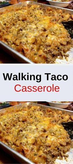 Walking Taco Casserole Ingredients : 1 pounds Ground Beef large Onion, chopped 1 can Green Chilies, small can 1 can Enchilada Sauce 2 ounces Cream Cheese 1 bag Fritos Corn Chips 1 bag Shredded Casserole Dishes, Casserole Recipes, Meat Recipes, Mexican Food Recipes, Dinner Recipes, Cooking Recipes, Healthy Recipes, Dinner Ideas, Recipes