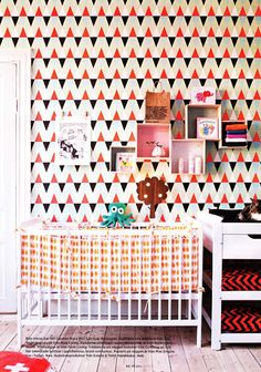 Nursery with Geometric Triangle Wallpaper - amazing! Swedish Interior Design, Swedish Interiors, Colorful Interiors, Project Nursery, Nursery Decor, Geometric Triangle Wallpaper, Home Wallpaper, Crazy Wallpaper, Wallpaper Patterns