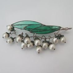 Vintage 1950's Gripoix for Christian Dior Glass Lily of the Valley Brooch