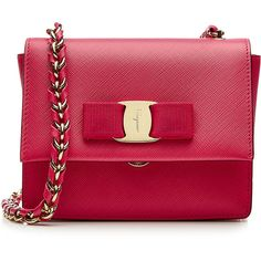 Salvatore Ferragamo Ginny Leather Shoulder Bag ($840) ❤ liked on Polyvore featuring bags, handbags, shoulder bags, pink, red handbags, genuine leather shoulder bag, red shoulder bag, red purse and chain shoulder bag