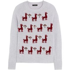 J.Crew Embellished llama-intarsia wool sweater (68 AUD) ❤ liked on Polyvore featuring tops, sweaters, light gray, loose fitting tops, woolen sweater, wool tops, j crew sweaters and loose fit tops