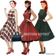 British Retro Swing Tartan Dress 3 Colours *Vintage 50s Rockabilly Party Pin-Up* #BritishRetro #50sRockabilly #Party