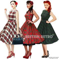 British Retro Swing Tartan Dress 3 Colours *Vintage 50s Rockabilly Party Pin-Up* #BritishRetro #50sRockabilly #Party
