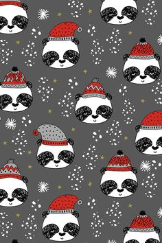 Winter Panda Fabric by Andrea Lauren - Hand illustrated pandas in black and white with red holiday hats on fabric, wallpaper, and gift wrap. #holiday #diyholiday #panda #illustration #design #cutepanda