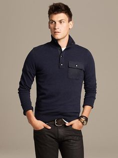 Snap-Placket Italian Wool Pullover Product Image