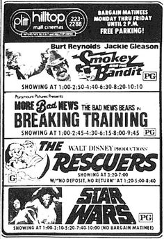 July 30, 1977 newspaper ad shows these popular films currently playing at Hilltop Mall Cinemas.