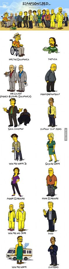 "Breaking Bad characters ""Simpsonized"", I absolutely love this and I finished a sporcle quiz on it xD I'd be happy to link anyone to it if they're interested, ask in comments! Jesse Pinkman, Walter White, Aaron Paul, Movies And Series, Tv Series, Breaking Bad Series, Breaking Bad Funny, Netflix, Mejores Series Tv"