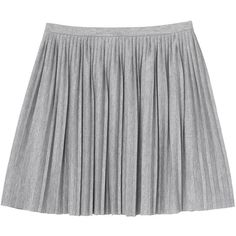 Monki Ella skirt ($11) ❤ liked on Polyvore featuring skirts, bottoms, saias, faldas, silvery, pleated skirt, monki and preppy skirts