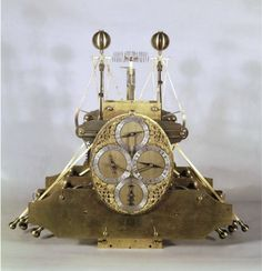 Harrison's Marine Chronometer number 1 (H1) Constructed between 1730 and 1735, the H1 is essentially a portable version of Harrison's precision wooden clocks. It is spring-driven and only runs for one day (the wooden clocks run for eight days). The moving parts are controlled and counterbalanced by springs so that, unlike a pendulum clock, H1 is independent of the direction of gravity.