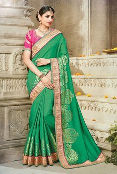 silk saree shops in mumbai  TRADITIONAL GREEN PEACOCK DESIGN MAHARASHTRIAN SILK SAREE WITH PINK BLOUSE