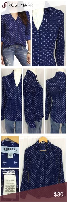 """Express Anchor Top Beautiful slightly sheer deep royal blue top with all over white anchor print. Collared V-neck with 3/4 front button closure, pull over design. Long sleeves with tabs. Generous size XS by Express; 19"""" chest and 26"""" length. Excellent condition. Express Tops"""