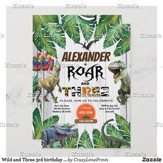 Wild and Three 3rd birthday invitation safari Birthday Thank You, Boy First Birthday, 1st Birthday Parties, Dinosaur Theme Park, Dinosaur Party, Zazzle Invitations, Party Invitations, Dinosaur Birthday Invitations, Park Birthday