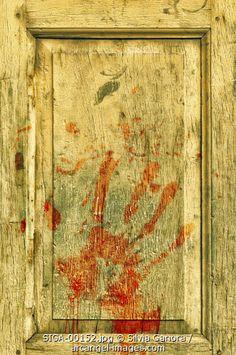 Bloody hand print on a wooden door -- #blood #bloody #handprint #door #bookcovers