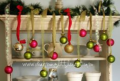 Great for a mantle Decorating with Christmas Ornaments | charminglittlenest.com