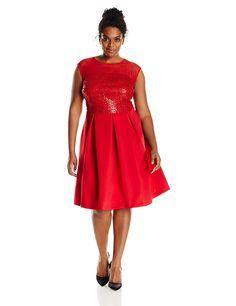 Sandra Darren Women's Plus-Size Sleeveless Knit Dress * For more information, visit now : Trendy plus size clothing