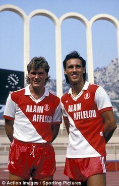 Glenn Hoodle and Mark Hateley of AS Monaco in Football Uniforms, Football Jerseys, Football Players, Action Images, As Monaco, Retro Football, Football Pictures, Tottenham Hotspur, Shorts