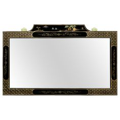 Black Lacquer Mirror w/ Chinoiserie Scenery Motif Grand in size with an intricately hand painted frame, the top panel of this mirror features idyllic Chinoiserie scenery. The entire frame is finished in black lacquer, giving it a shiny and polished look. The mirror itself is beveled and brass hangers are mounted on the back of the frame for easy hanging.
