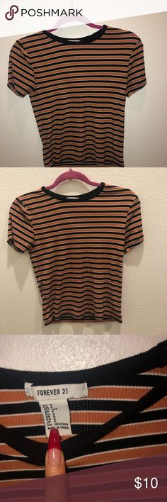 ffcdf586ab36 RESONABLE OFFERS ACCEPTED✨ Small forever 21 shirt Forever 21 small taupe  with black stripes shirt