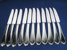 REED& BARTON Stainless China 11 Pcs  BUTTER & STEAK Knives BOSTON PEARL Hvy Duty #ReedBarton