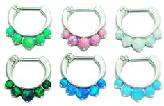 Choose 2 5 Pronged Fire Opal Septum Clickers