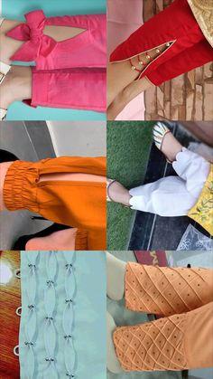 Kurti Sleeves Design, Sleeves Designs For Dresses, Kurta Neck Design, Fancy Blouse Designs, Neckline Designs, Dress Neck Designs, Indian Fashion Dresses, Indian Designer Suits, Salwar Designs